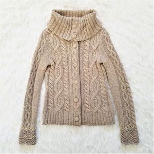 Anthro Sleeping on Snow Cable Knit Cardigan